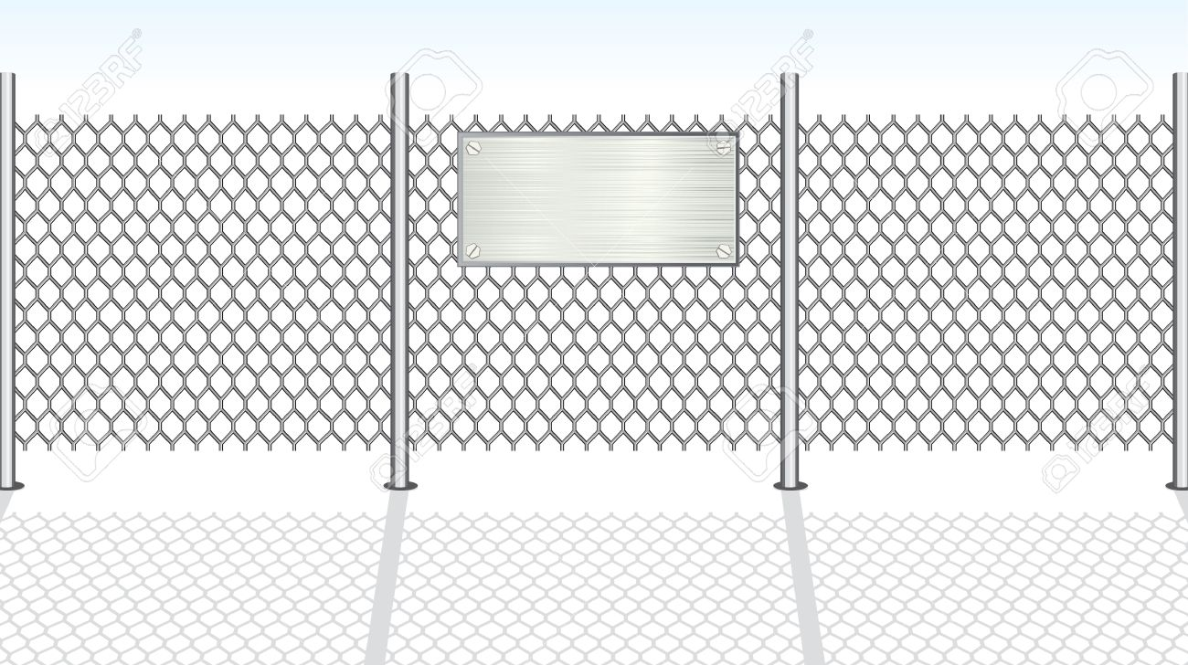 Chain link fence with metallic sign for your text Stock Vector - 7739223