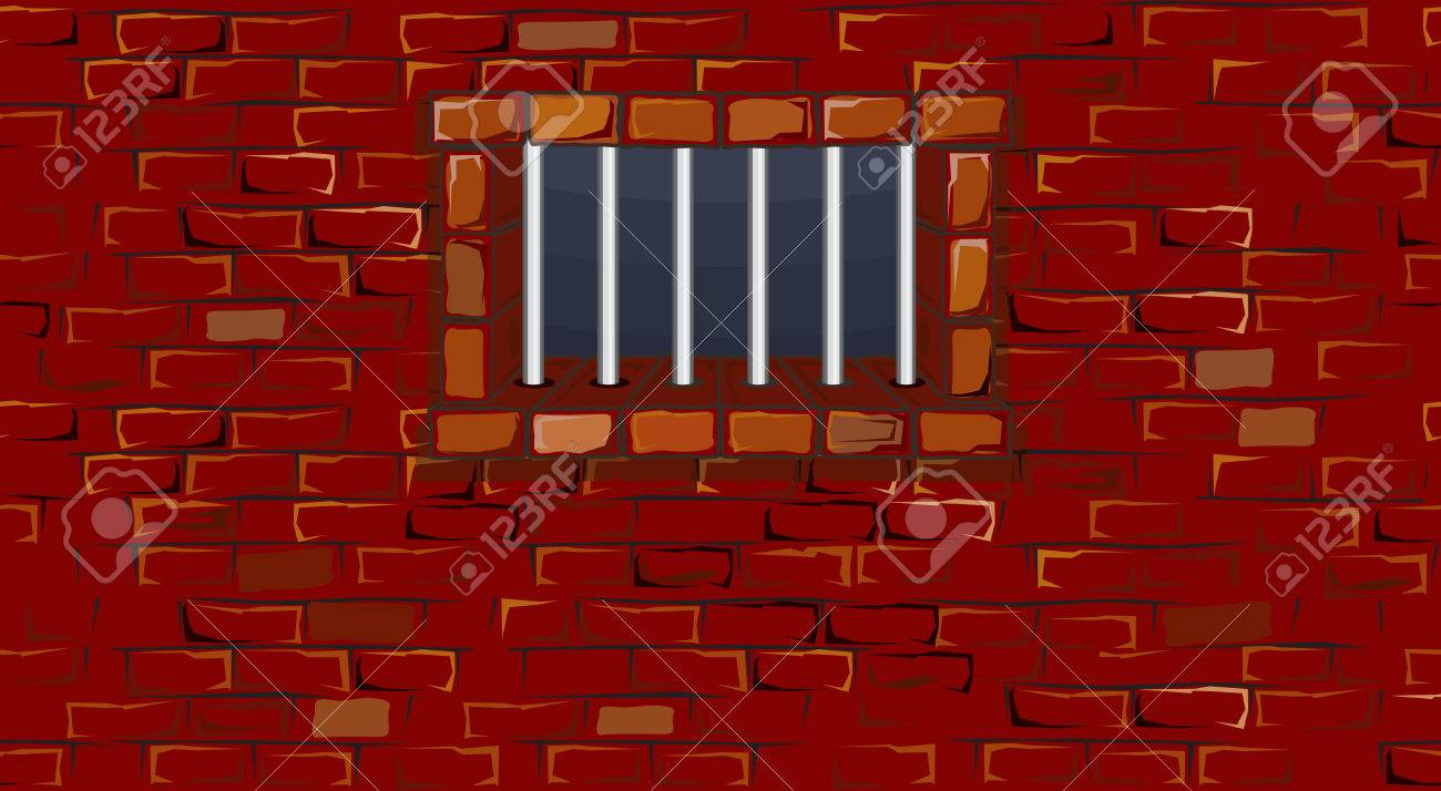 Seamless prison wall with window-  without gradients ,separated elements Stock Vector - 7739509