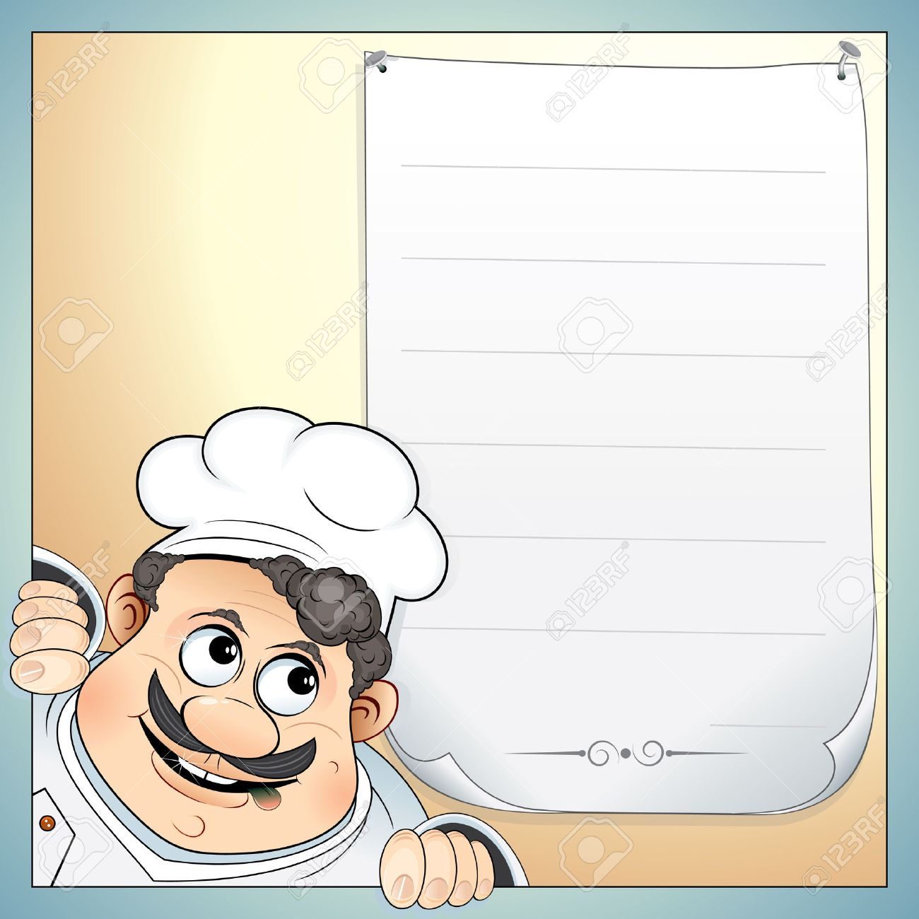 Illustration Of Cute Chef With Blank Menu-for Your Own Text ...