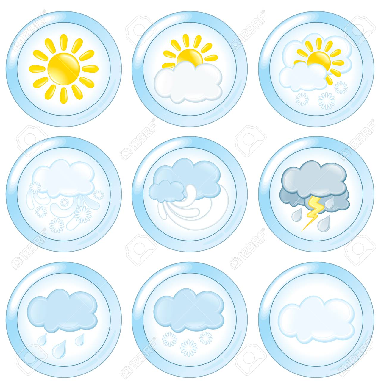 weather forecast icons set. Stock Vector - 7783069