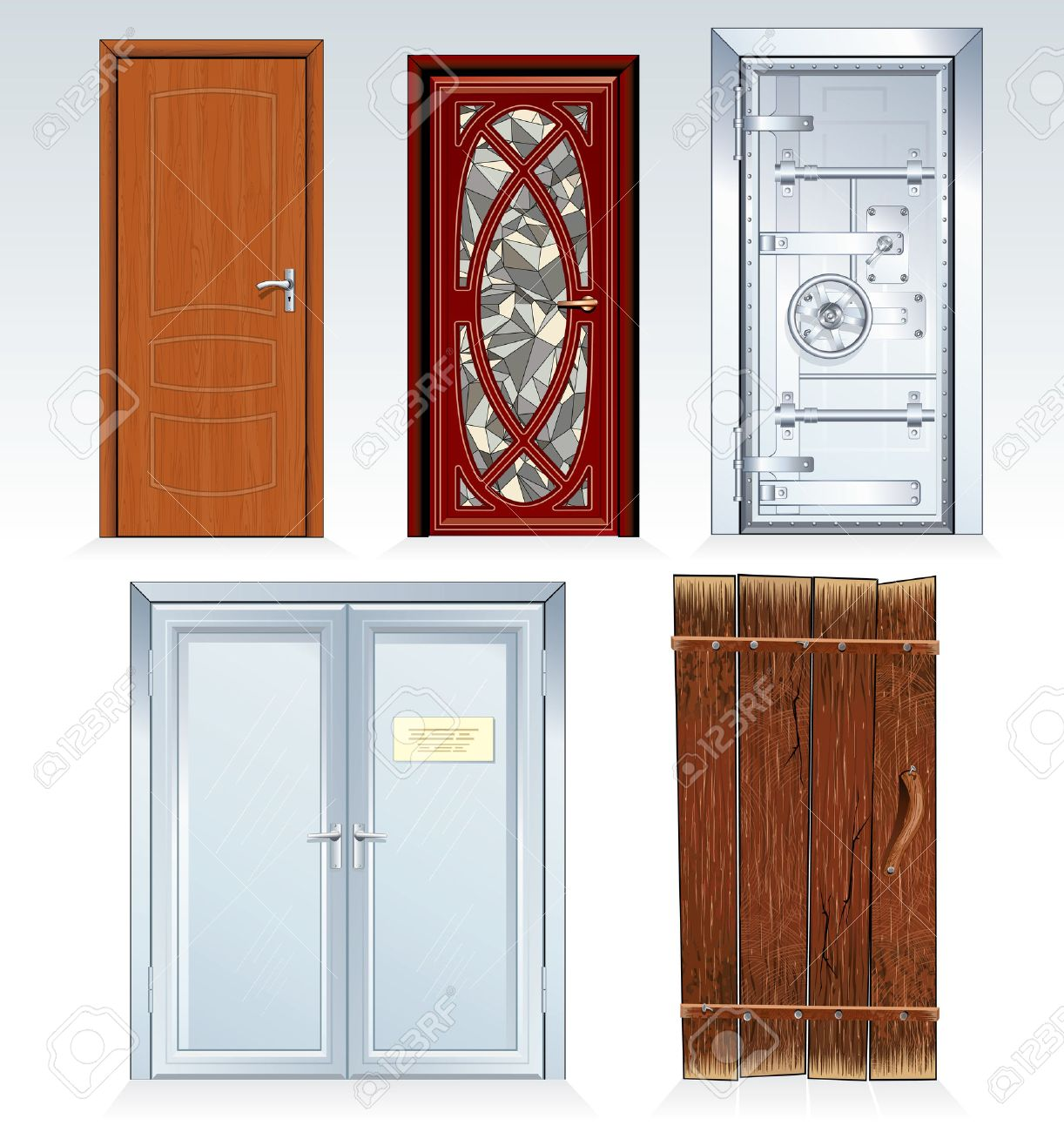 Collection of standard Doors -inc classic wooden door front door bank vault  sc 1 st  123RF Stock Photos & Collection Of Standard Doors -inc Classic Wooden Door Front ... pezcame.com