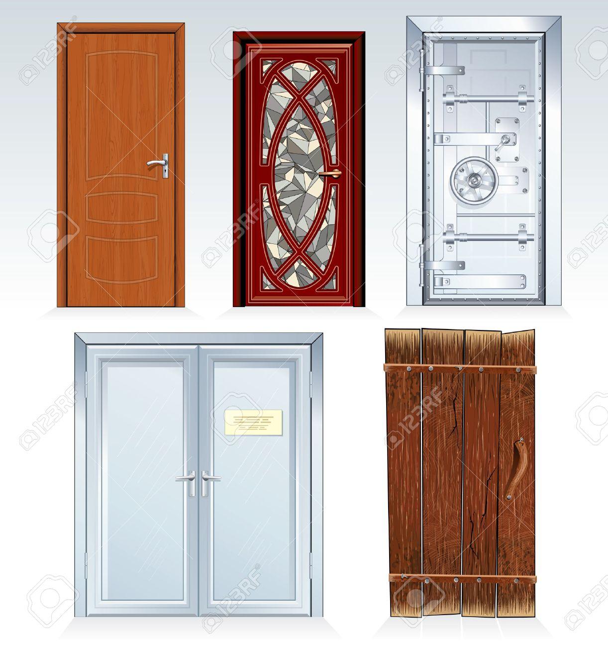 Collection of standard Doors -inc classic wooden door front door bank vault  sc 1 st  123RF.com & Collection Of Standard Doors -inc Classic Wooden Door Front ...