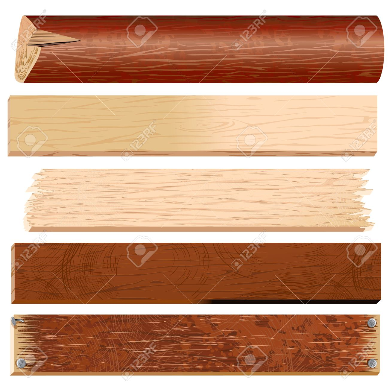 Wooden Planks, Boards, Logs, Panels  timber collection Stock Vector - 7913078