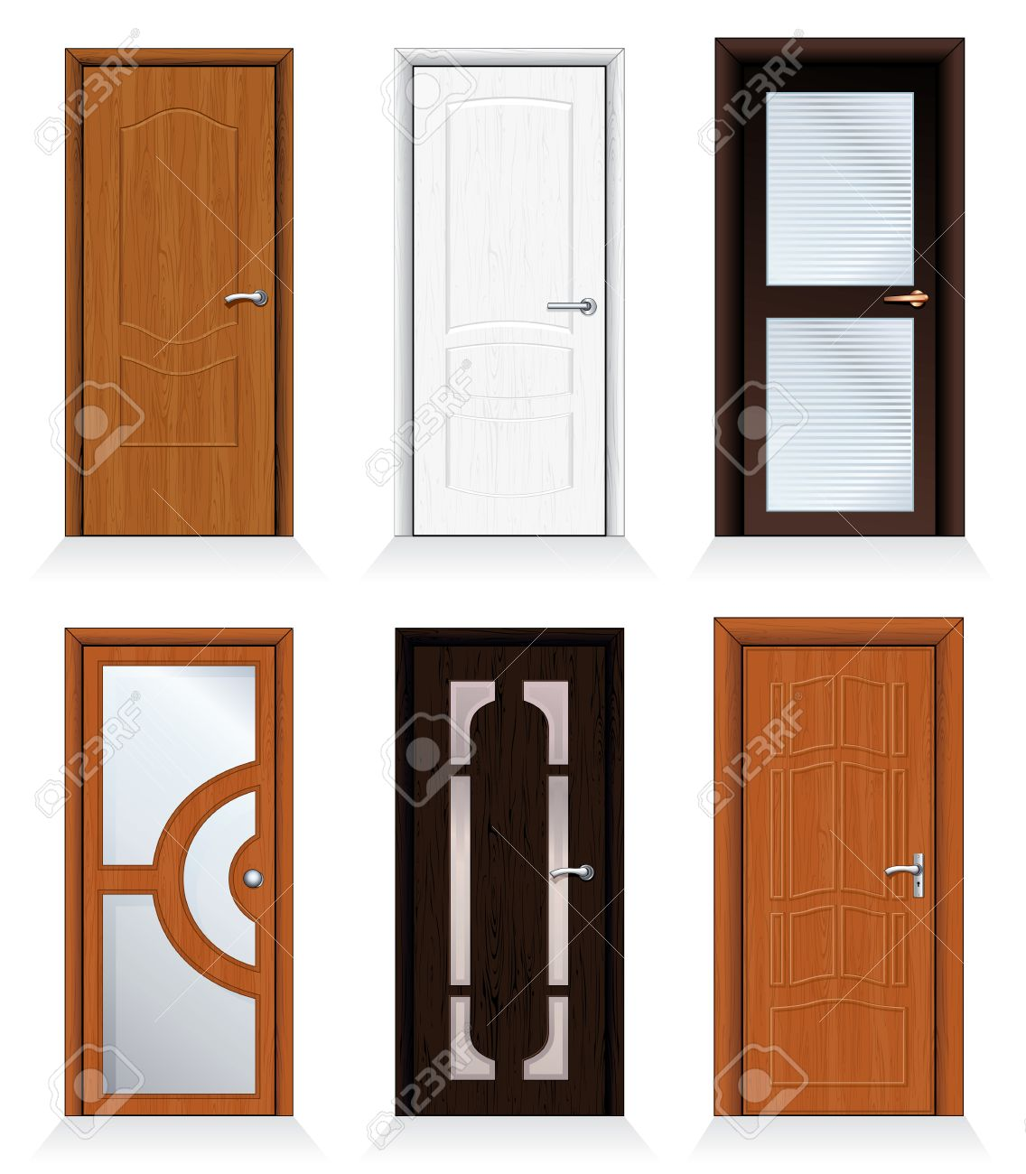 Classic Interior And Front Wooden Doors - Detailed Realistic ...
