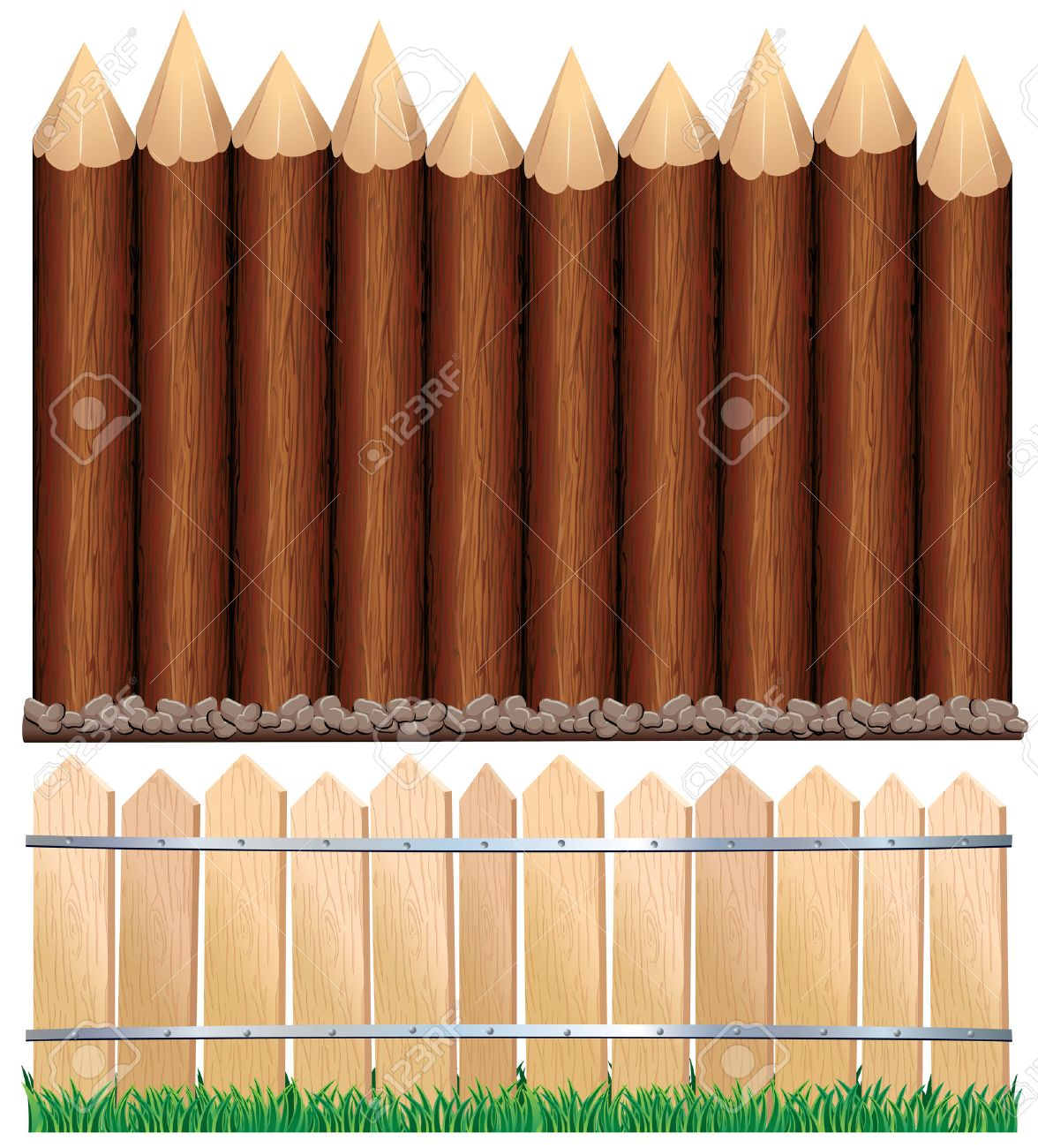 Illustration of rural wooden fence and log paling all wood illustration of rural wooden fence and log paling all wood elements separated and grouped stock baanklon Images