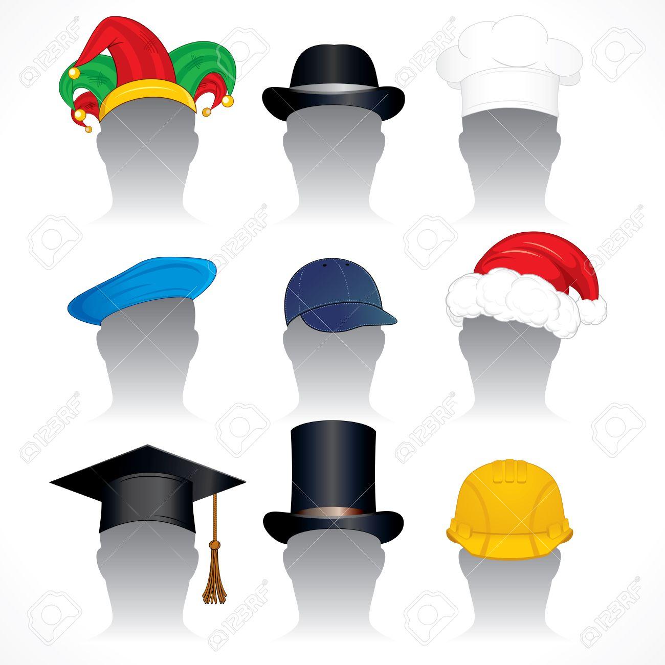帽子クリップ アート 様々 な帽子および帽子の詳細なベクトル イラスト集