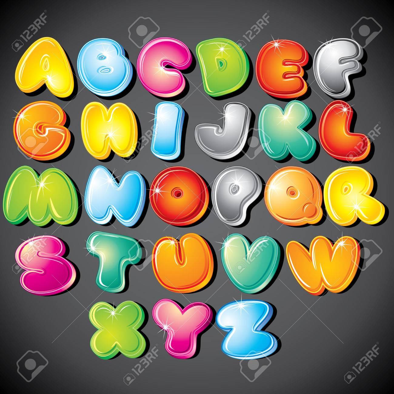 Joyful Cartoon font type - letter from A to Z,   clip art Stock Vector - 8186161