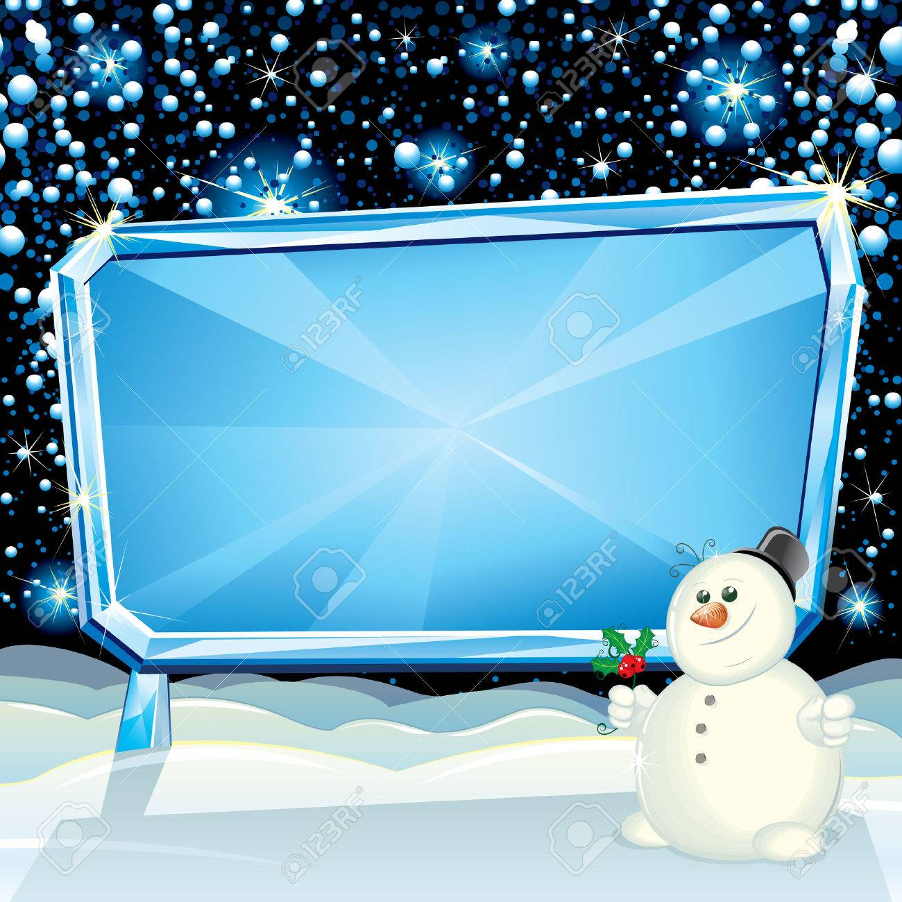 Cartoon Christmas Card with Frozen Billboard and Funny Snowman ready for greeting text Stock Vector - 8186168