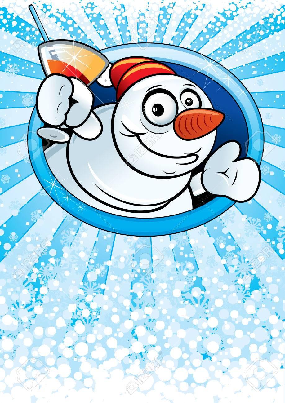 Card with funny cartoon Snowman Stock Vector - 8265771