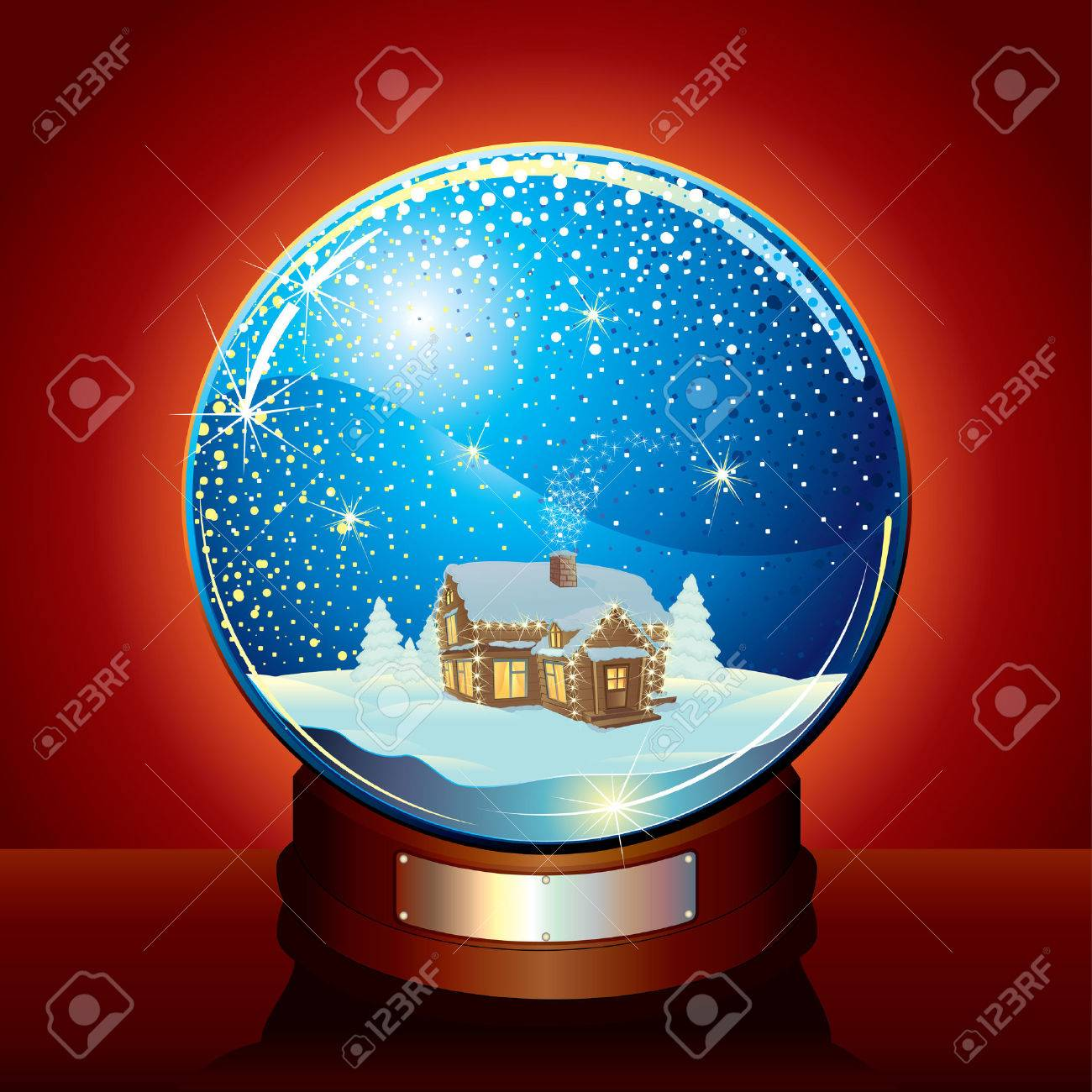 Christmas Snow globe with tranquil winter composition and falling snow Stock Vector - 8364003