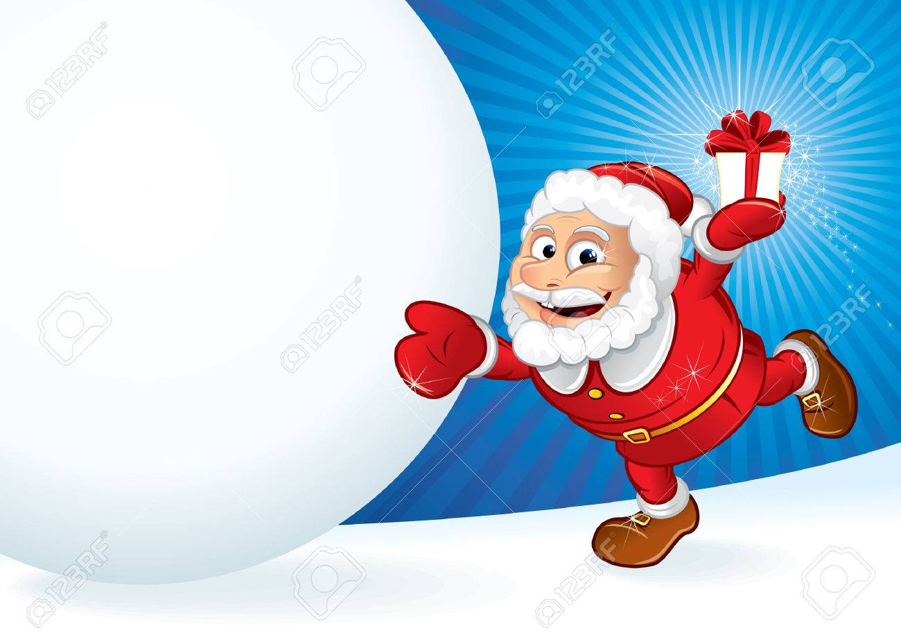 Santa Claus with gift and snowball Stock Vector - 8363958
