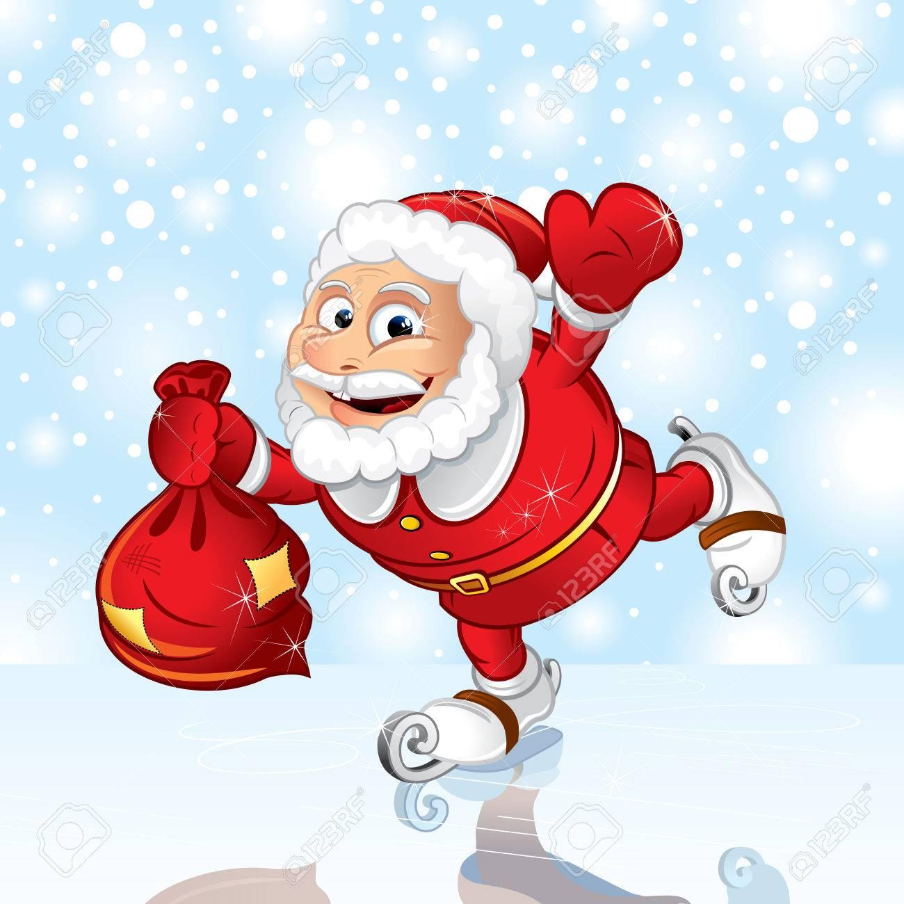 Skating Santa with sack. Vector illustration Stock Vector - 8363989