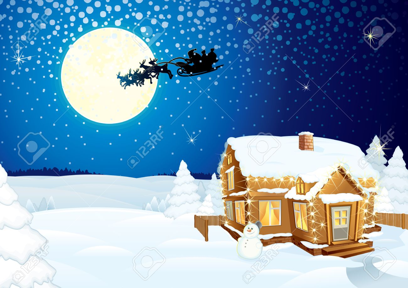 Santa Claus on sledge with Magic Deers flying over night winter background with forest, hug, moon and lonely snowman - detailed vector artwork Stock Vector - 8364005