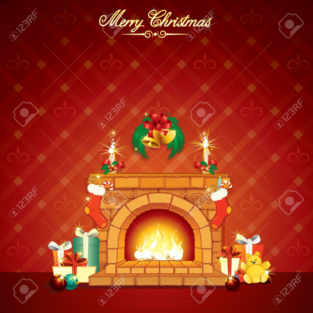 wonderful cartoon christmas interior with fireplace and