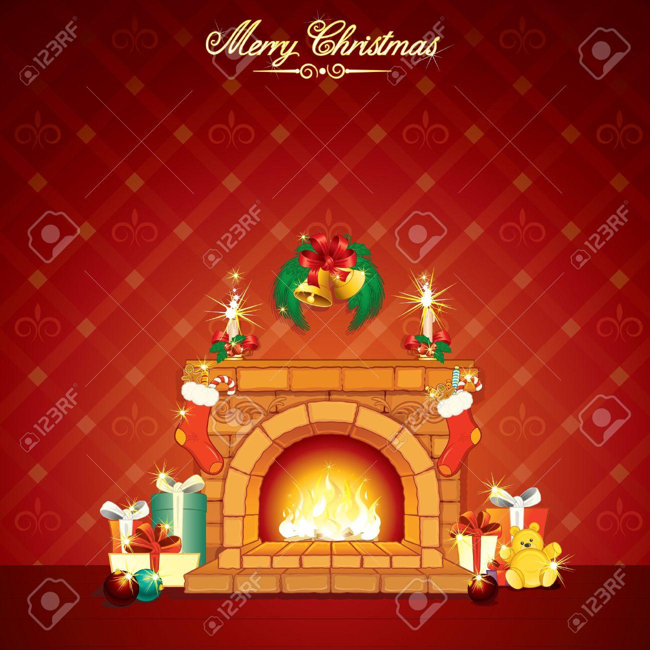 Maravilloso De Navidad De Dibujos Animados Interior Con Chimenea