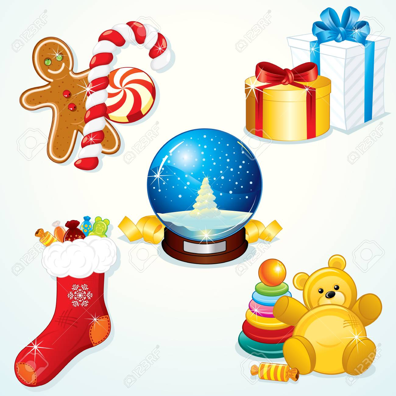 Various Christmas Gifts for your festive design Stock Vector - 8403134