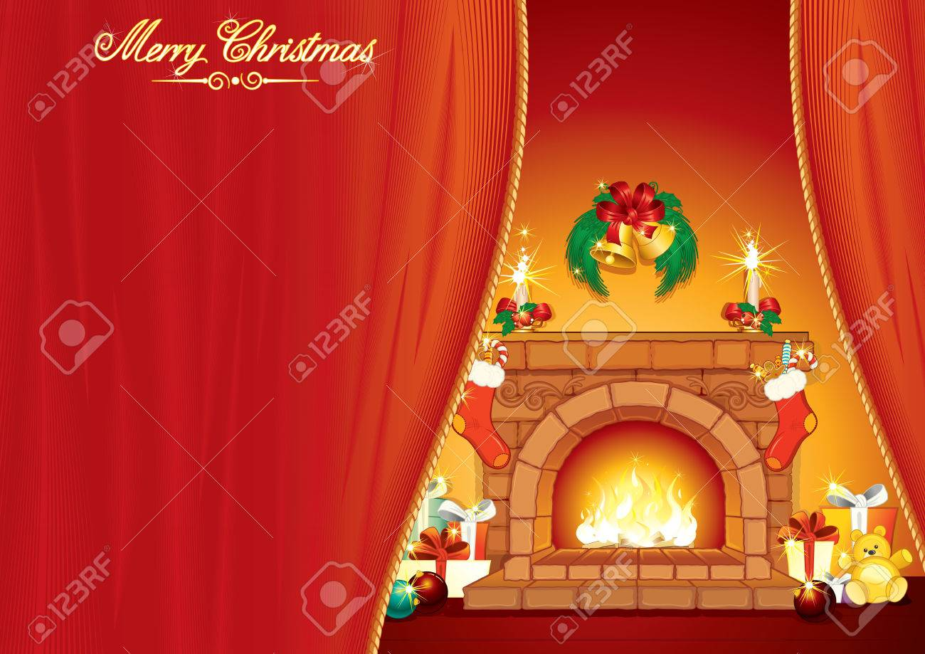 Christmas Day - Illustrated greeting Card with festive interior, fireplace and classical xmas gifts - ready for your text Stock Vector - 8403144