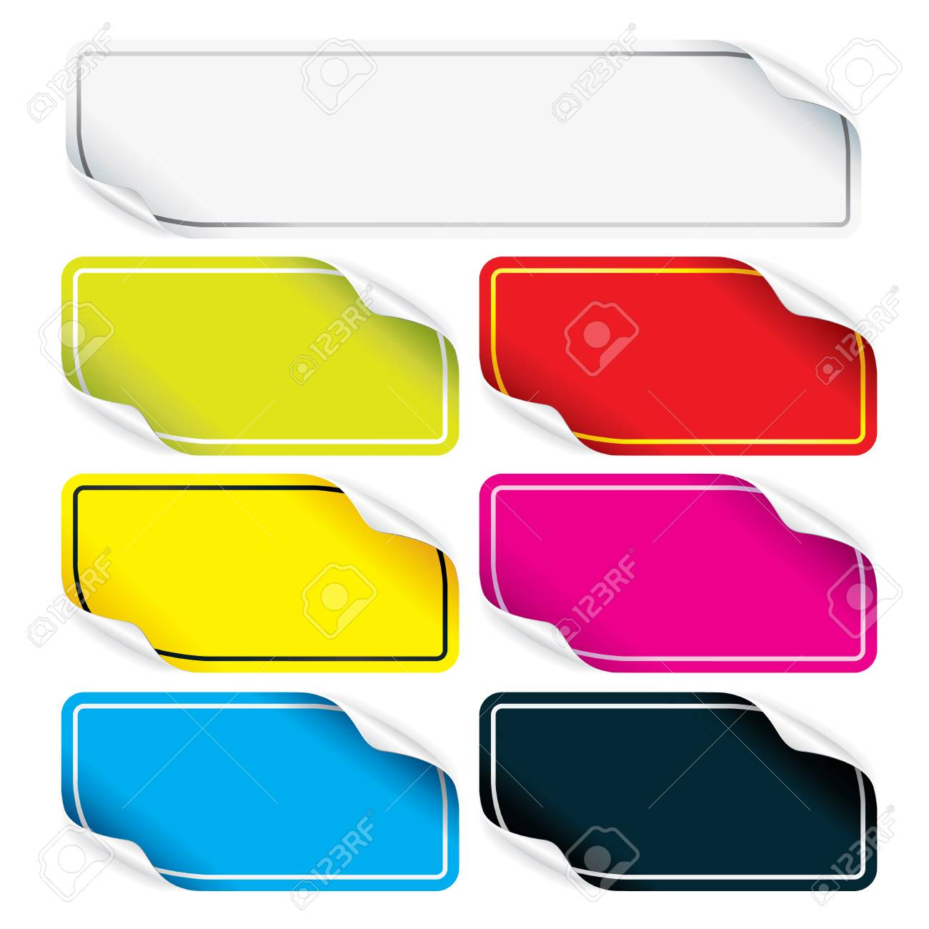 Set of detailed colorful stickers for your design Stock Vector - 9060643