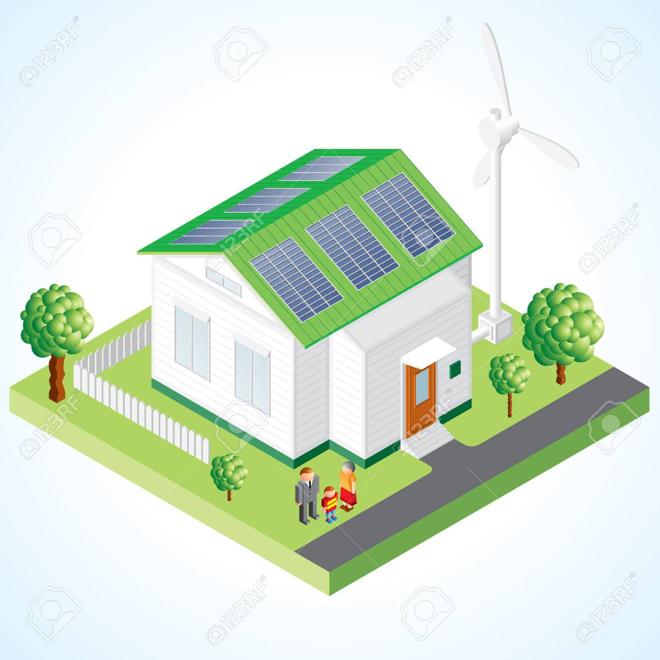 Green House Concept Isometric Composition Of Small House With