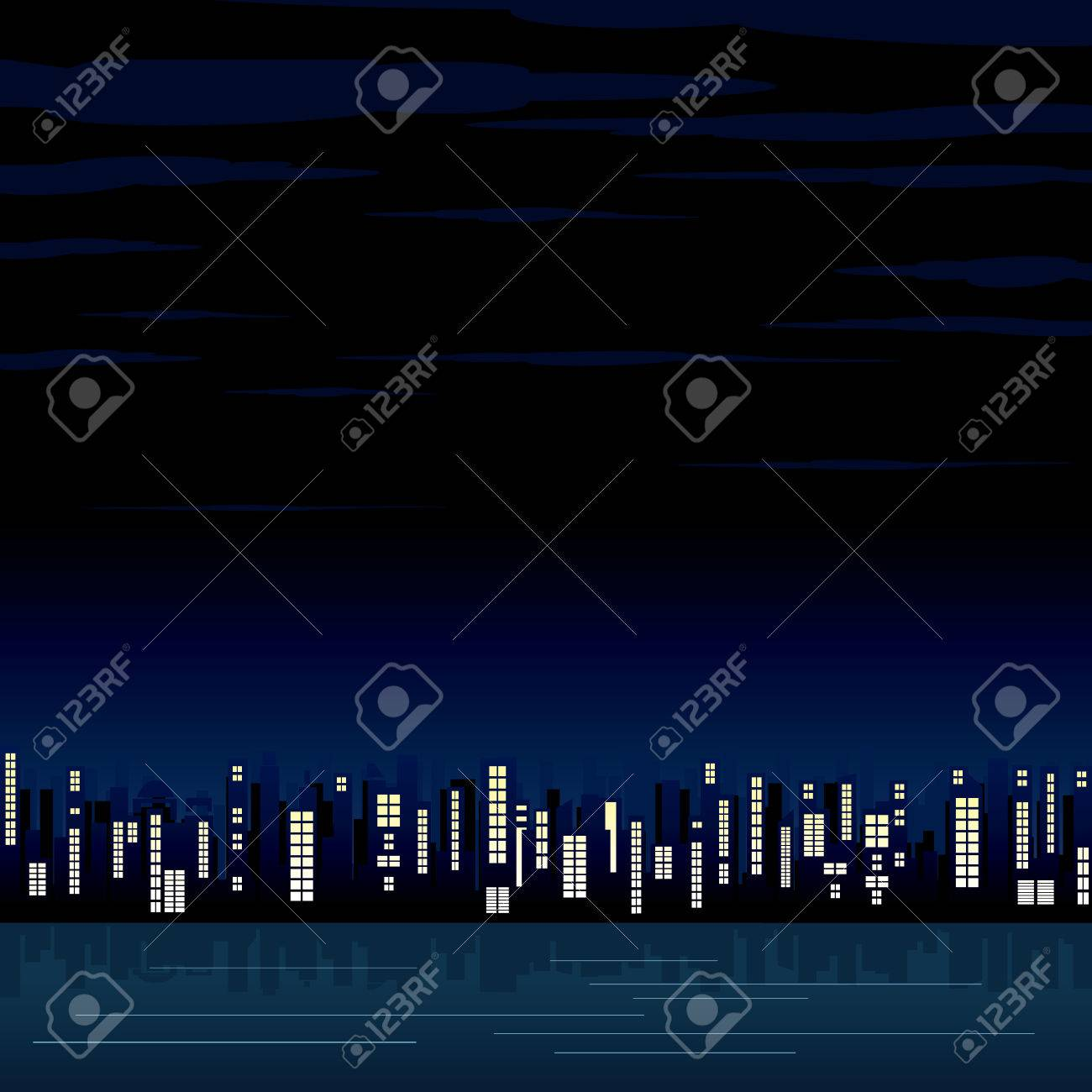 Night view of the abstract city - illustrated background for your text or design Stock Vector - 9060648