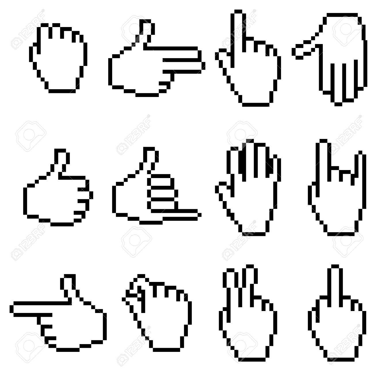 Set of Pixel Hand Icons