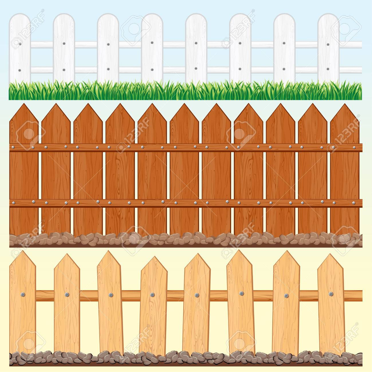Wooden Farm Fence set of seamless wooden fences and palisades royalty free cliparts