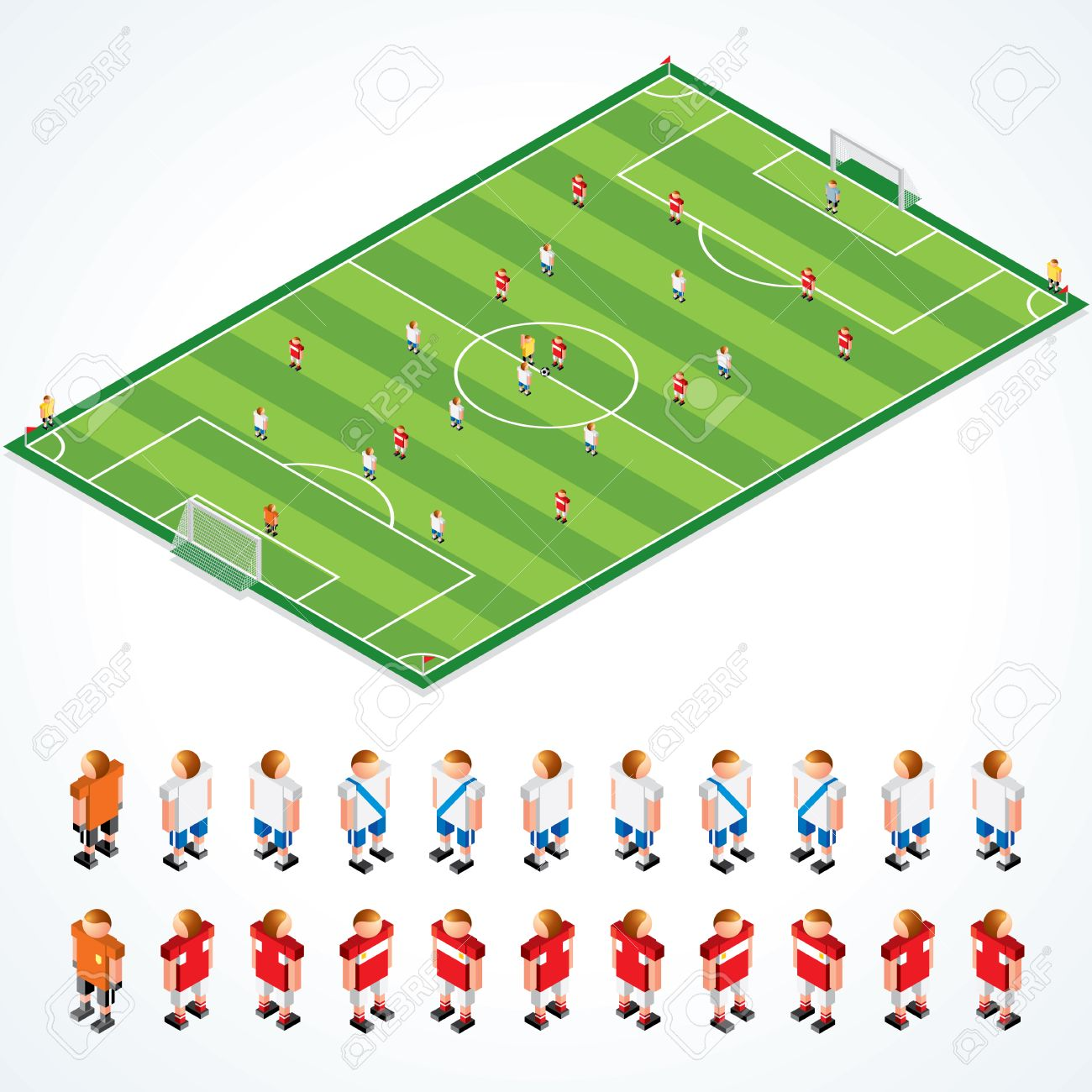 Soccer tactical Kit - isometric illustration of football field and abstract teams, all elements separated and grouped Stock Vector - 9060697