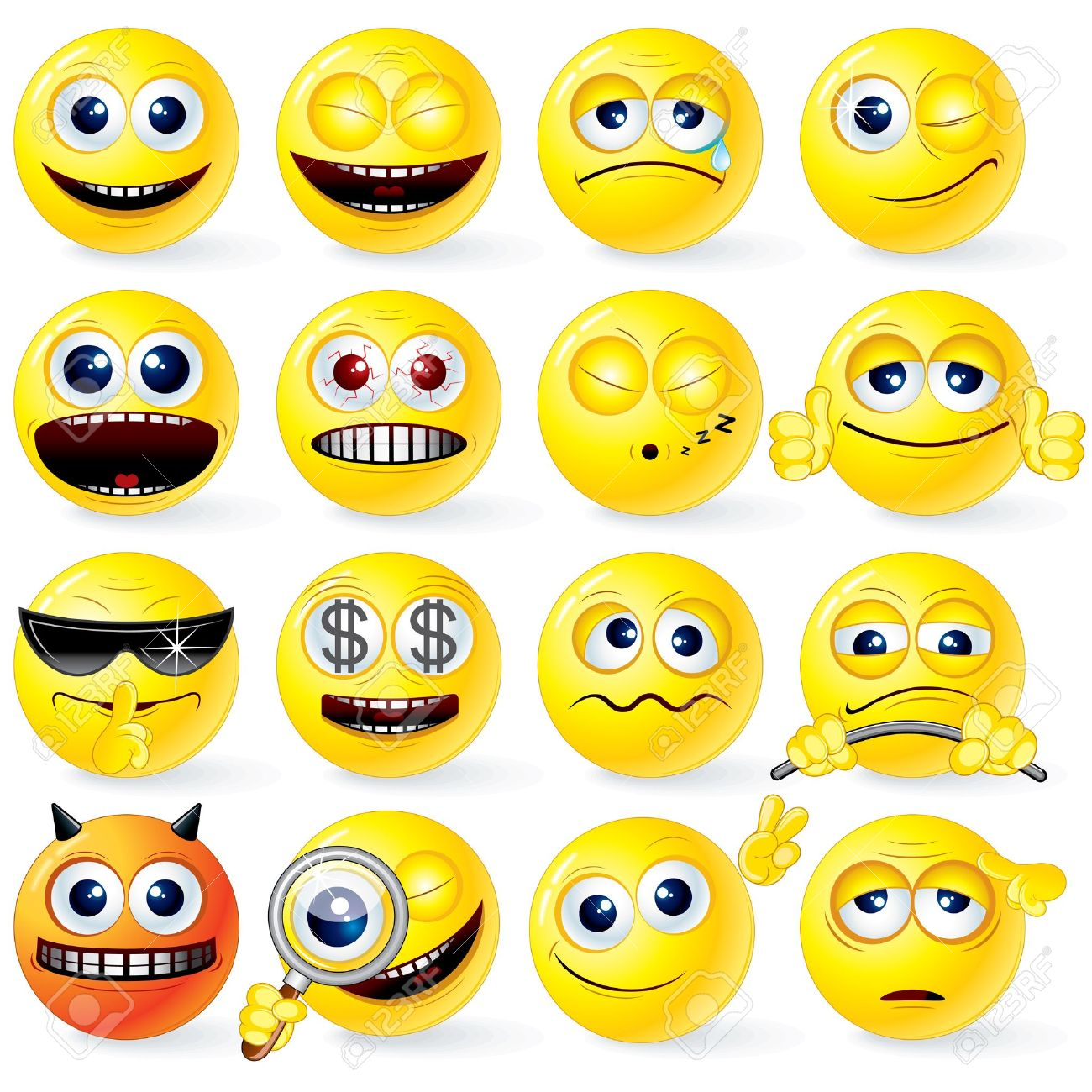 Large set of isolated Yellow Cartoon Smileys with positive and negative emotions, gestures, poses - detailed vector illustration for your design - 9151347
