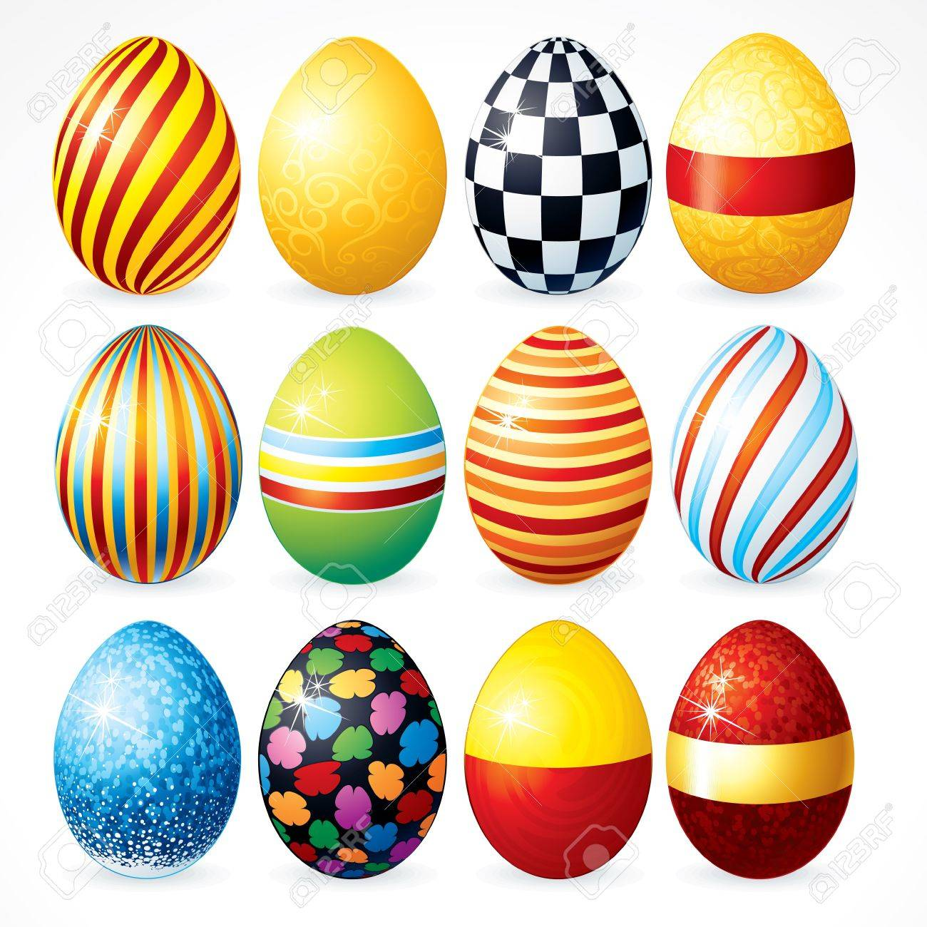 Isolated Easter Eggs, Happy Easter Vector Clip Art For Your Design Stock  Vector   9151356
