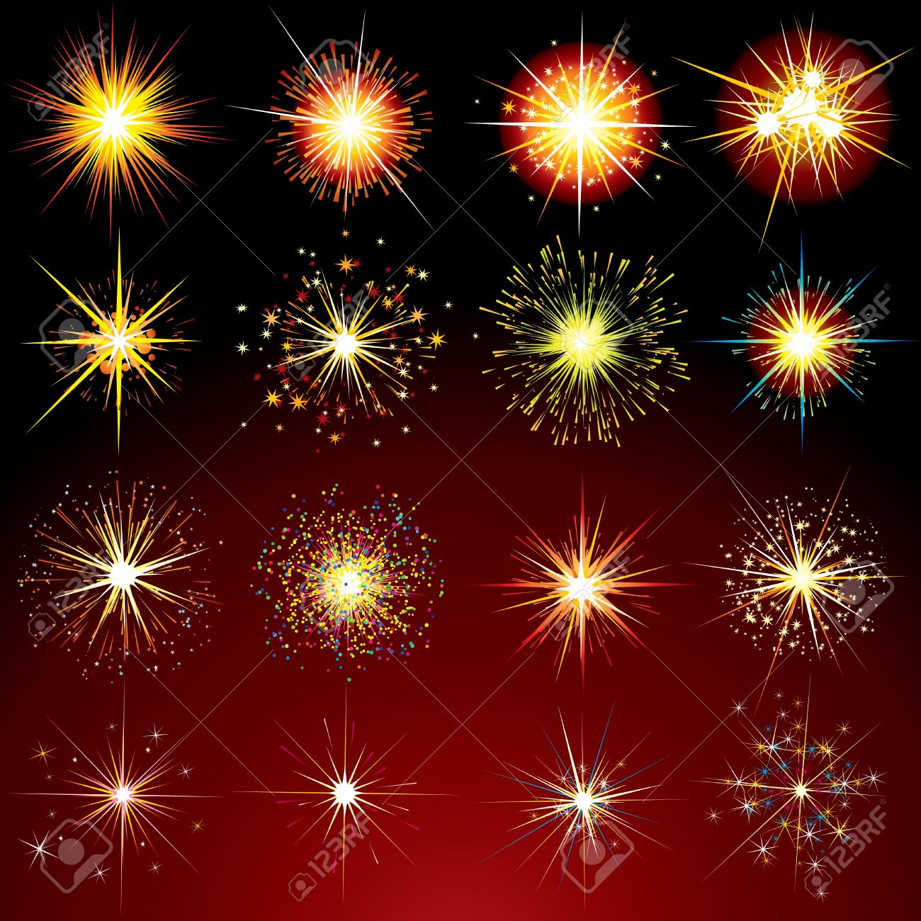 Brightly Stars, Flashes, Fireworks, Sparks and Flares variation - isolated vector design elements Stock Vector - 9569685