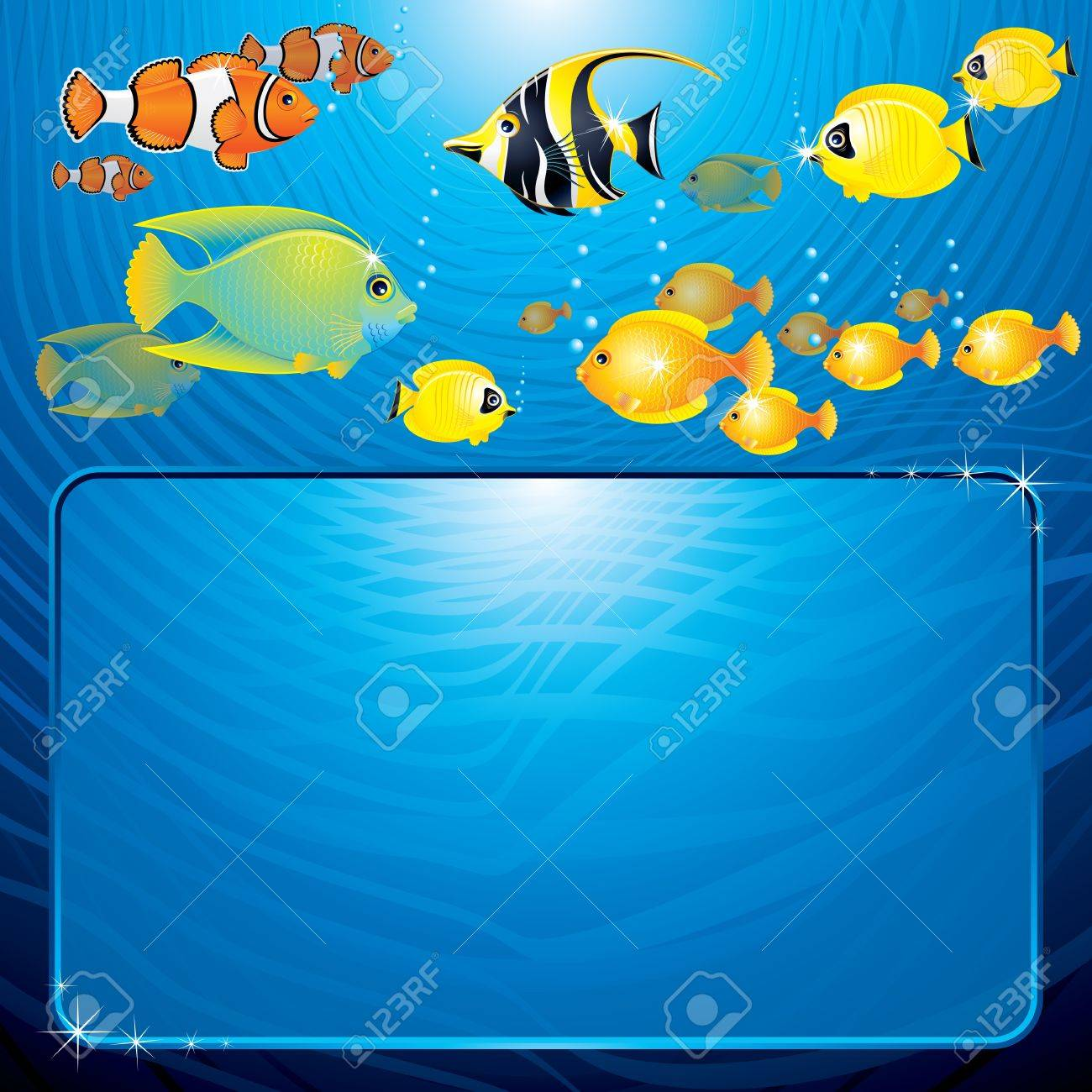 Sea Life scene with variety tropical Fishes and space for your text or design Stock Vector - 9569688