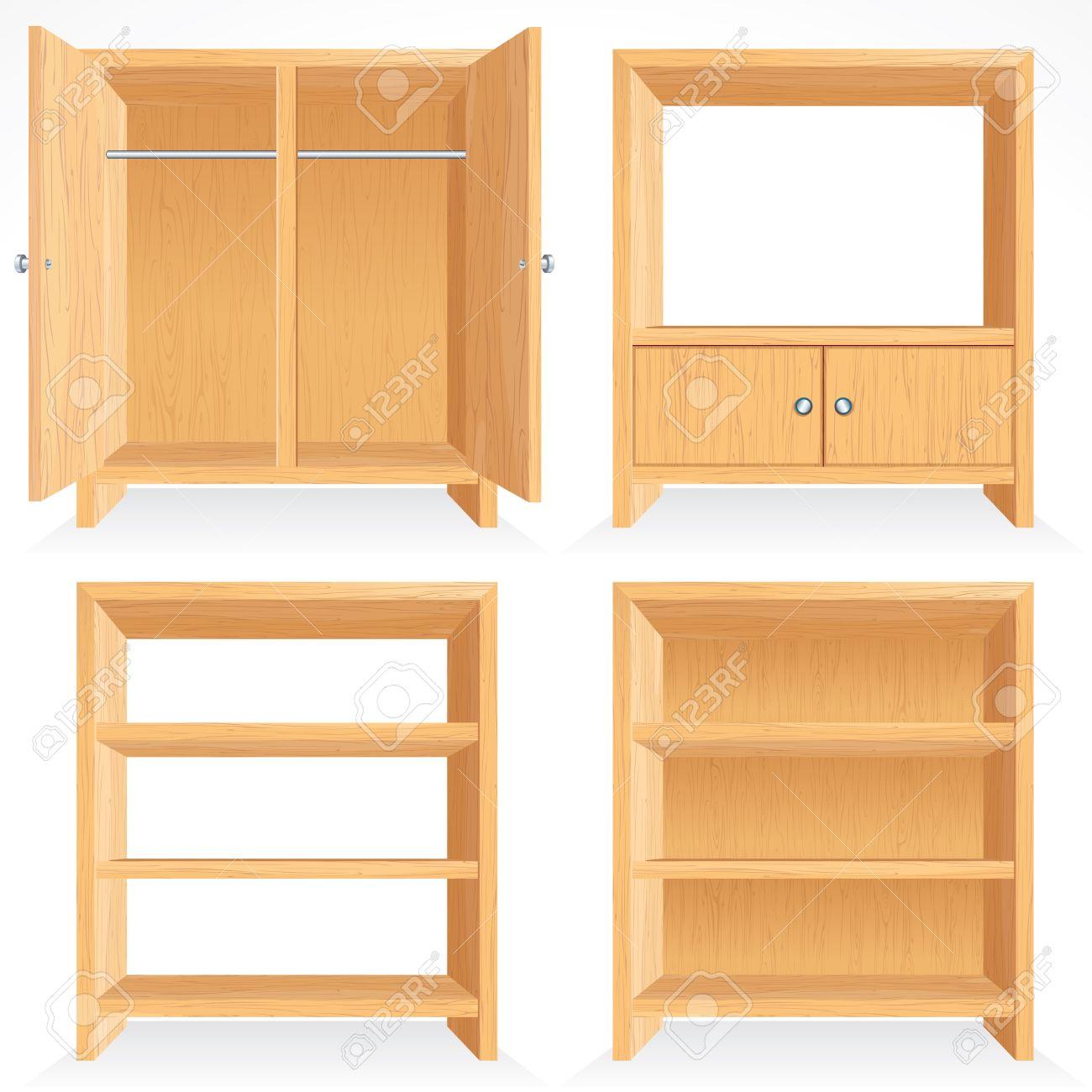 conjunto de vectores de muebles de madera natural estantera aislado gabinete armario