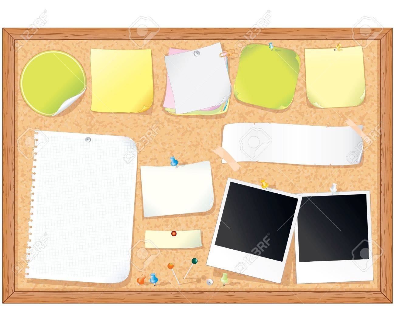 Cork message board with various paper notes and memo stickers - vector illustration , all elements separated Stock Vector - 9717547