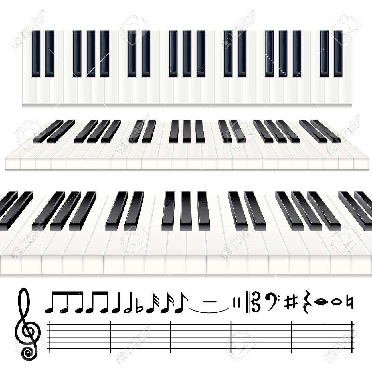 Music Design Elements Vector Piano Keys Or Organ Keyboard With