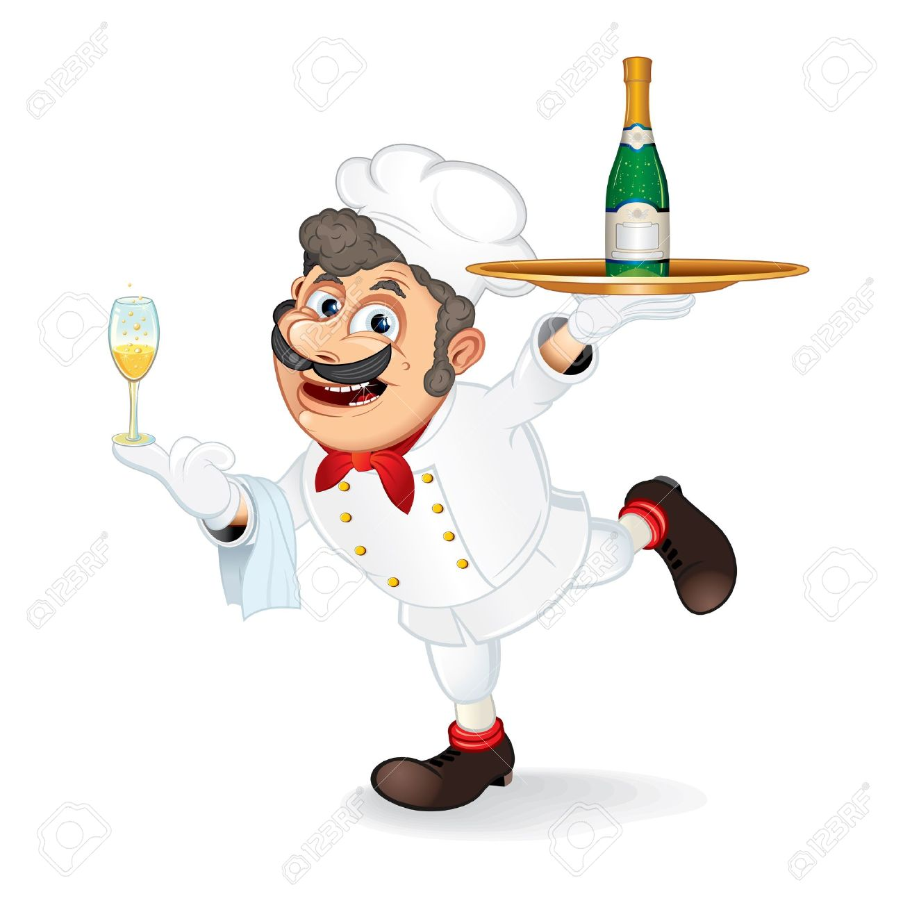 Chef Cook With Tray And Bootle Of Champagne, Isolated Vector Cartoon  Illustration Stock Vector