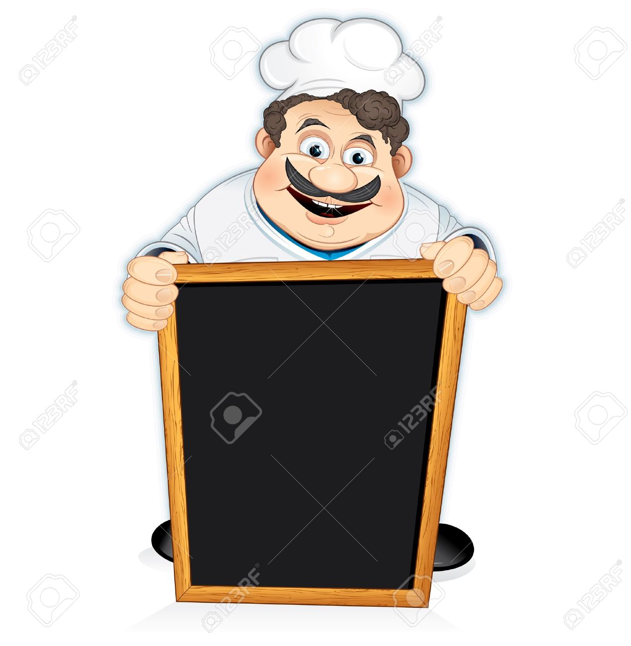 vector cartoon chef cook with blank wooden menu board, vector