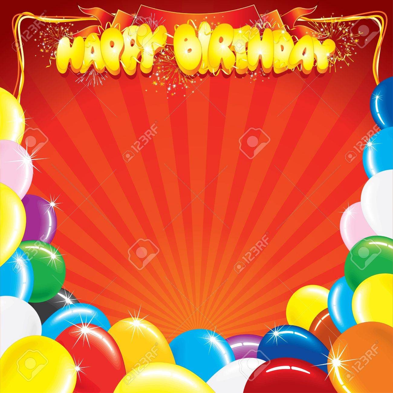multicolor balloons with the words happy birthday template for