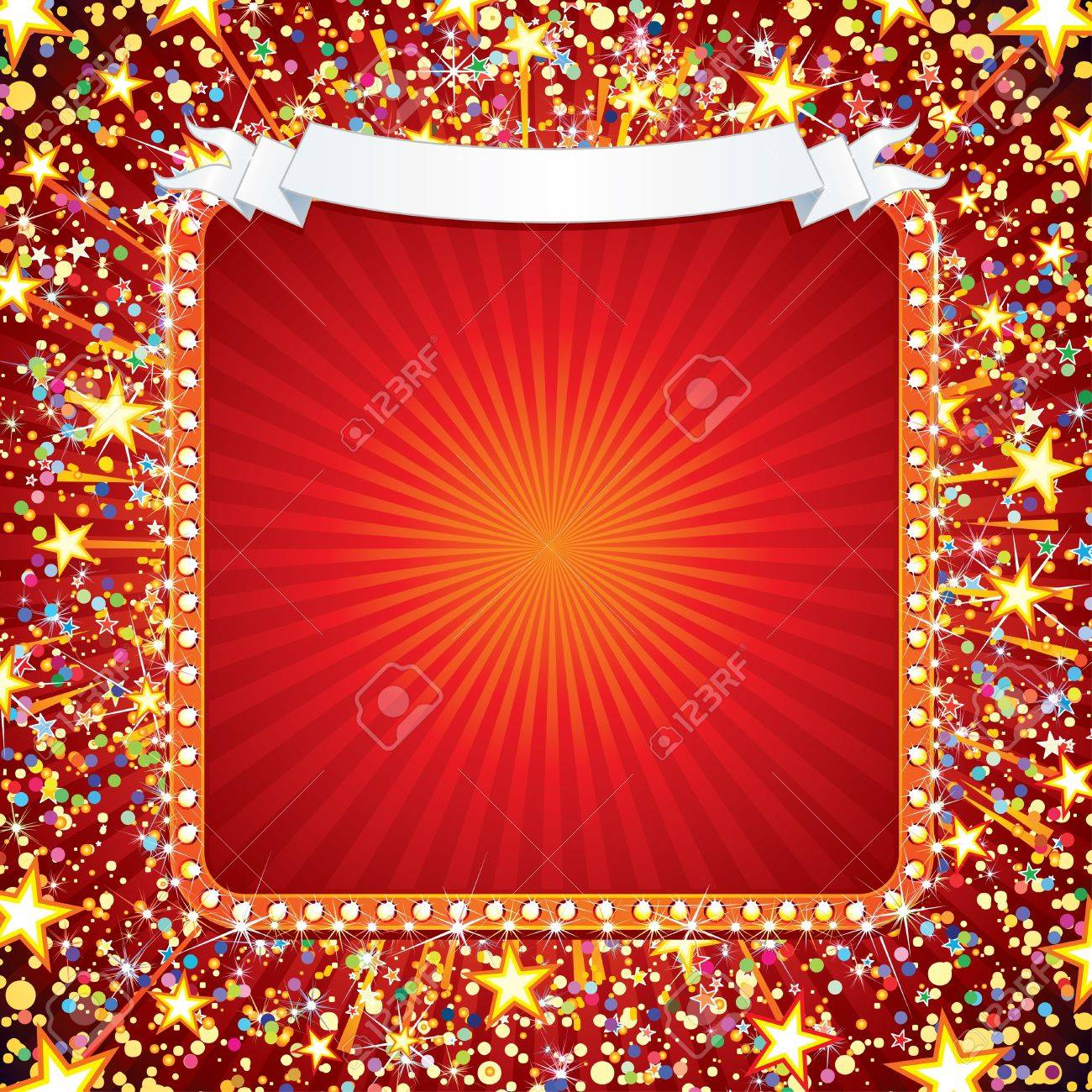 Festive Vector Background with Fireworks, Confetti, Stars and Sparks. Ready for your own text or design Stock Vector - 10301586