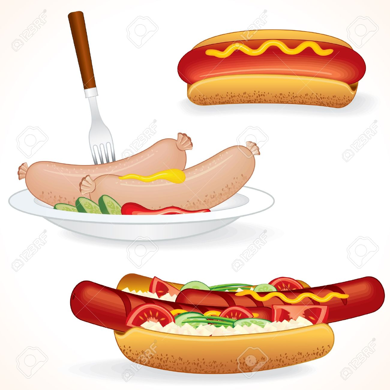 Hot Dog Variations. Sausages and other vector illustrations of Junk Food. Stock Vector - 10301486