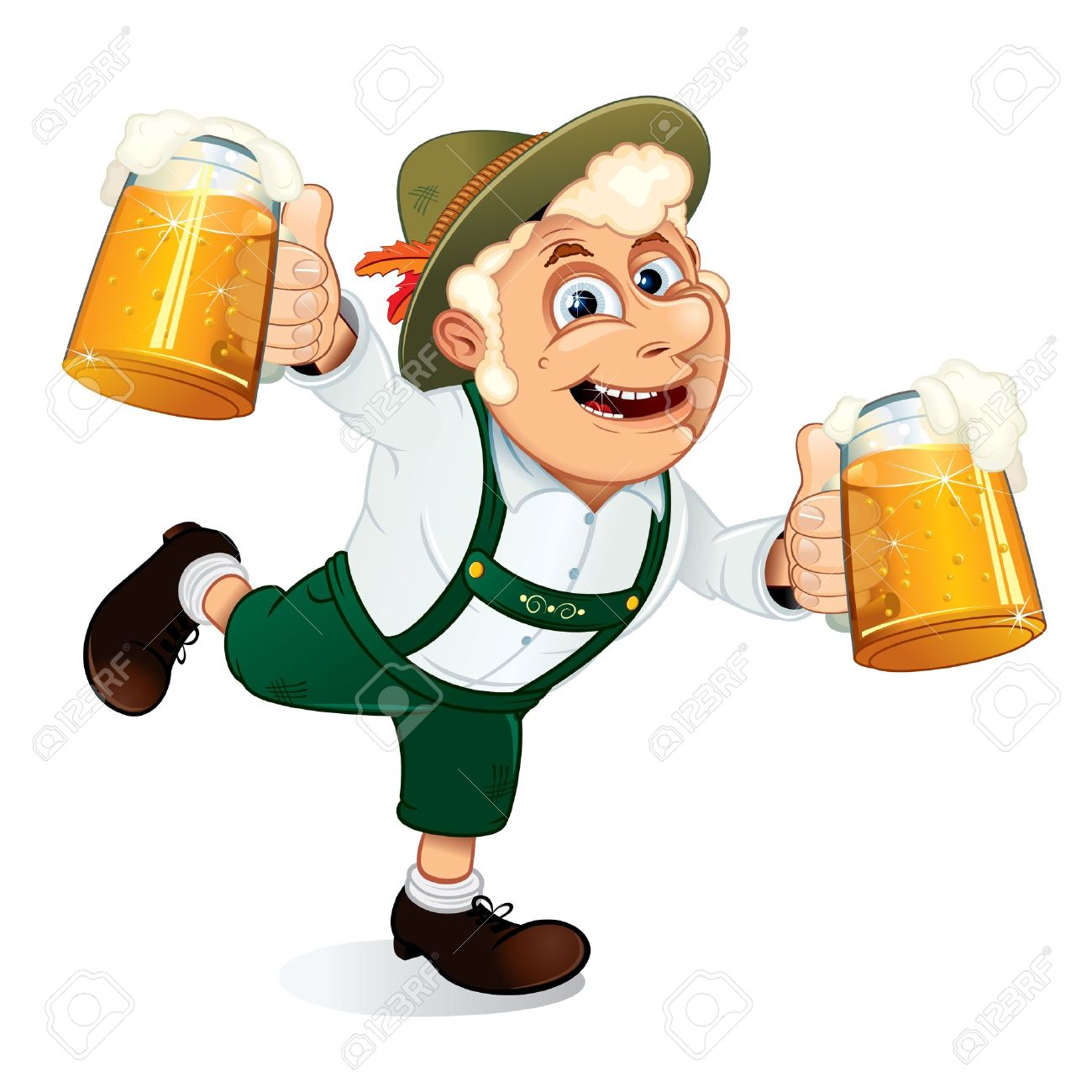 Hilarious Drunk Guy with mugs of beer at hands on a Oktoberfest festival, vector illustration Stock Vector - 10301482