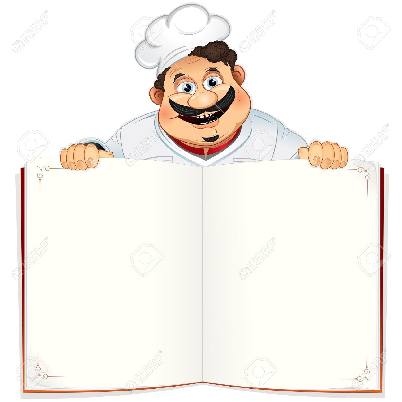 Funny Chef with Blank Cookbook, Menu or Notepad, Vector Illustration Stock Vector - 10301476