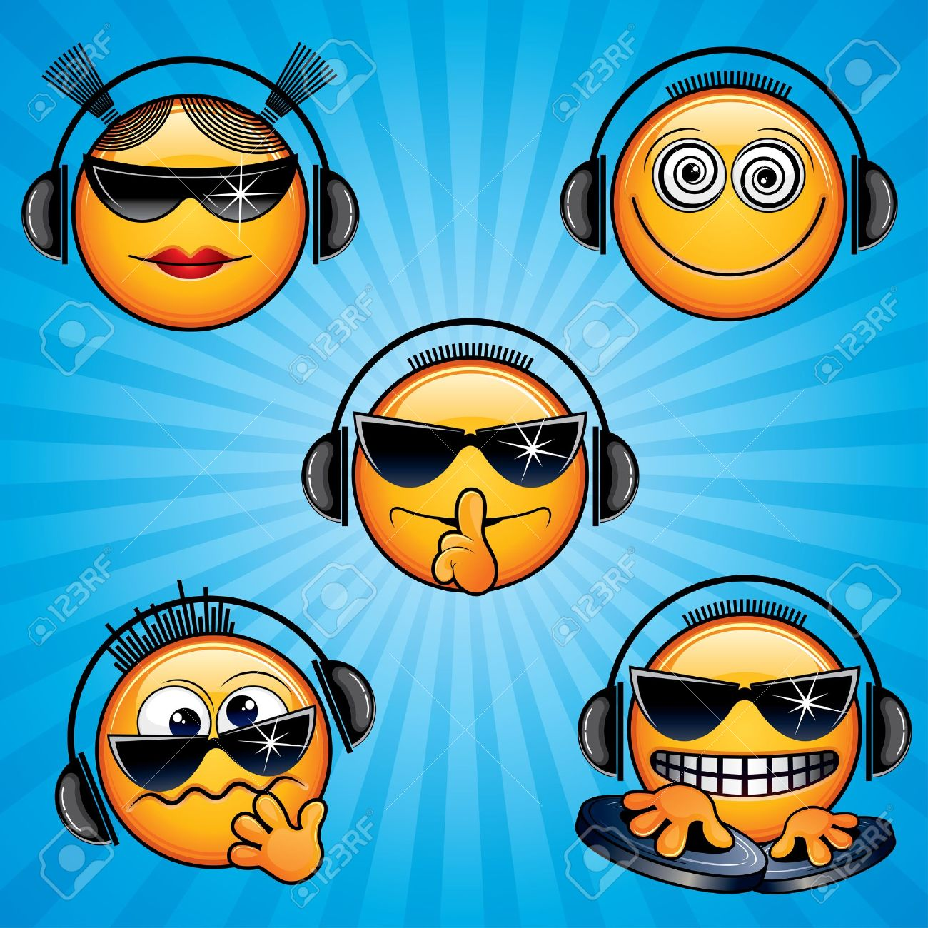 Vector DJ Icons and Smileys Stock Vector - 10725164