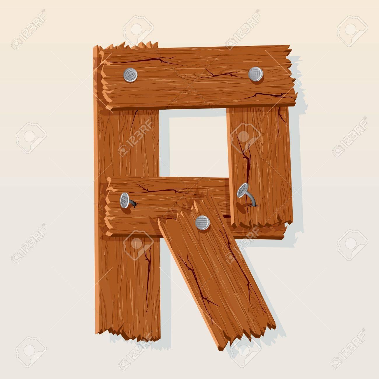 Letter R From vector Wooden Alphabet Stock Vector - 10851043