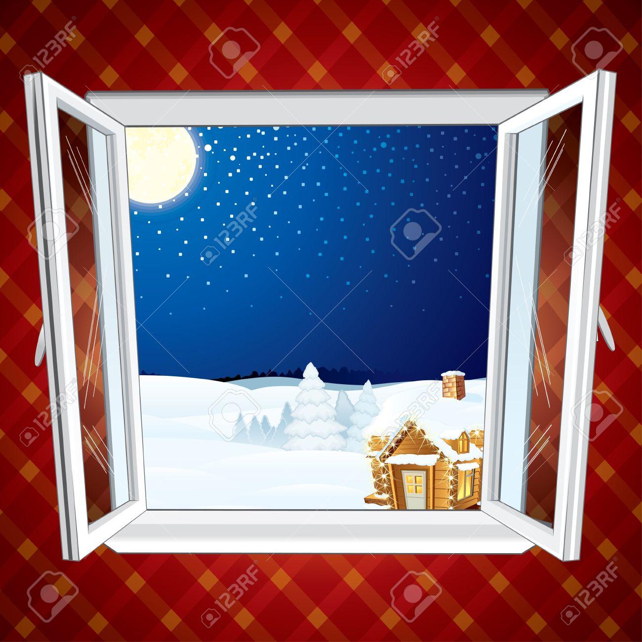 Offenes fenster im winter  Winter Weihnachten Winter-Szene Durch Das Geöffnete Fenster ...