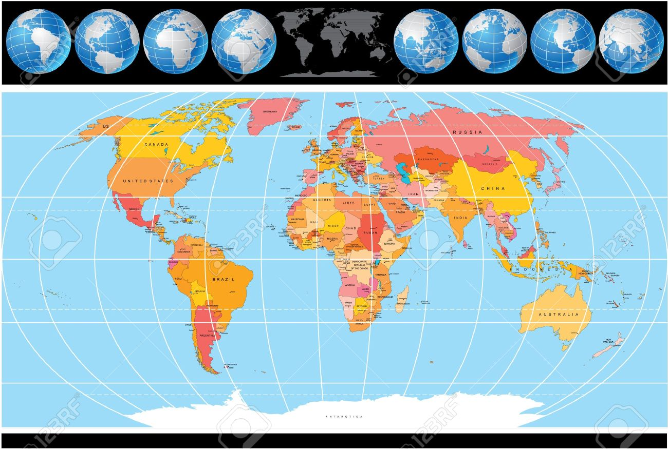 World map with globes map include all countries with capitals world map with globes map include all countries with capitals stock vector 11281356 gumiabroncs Gallery