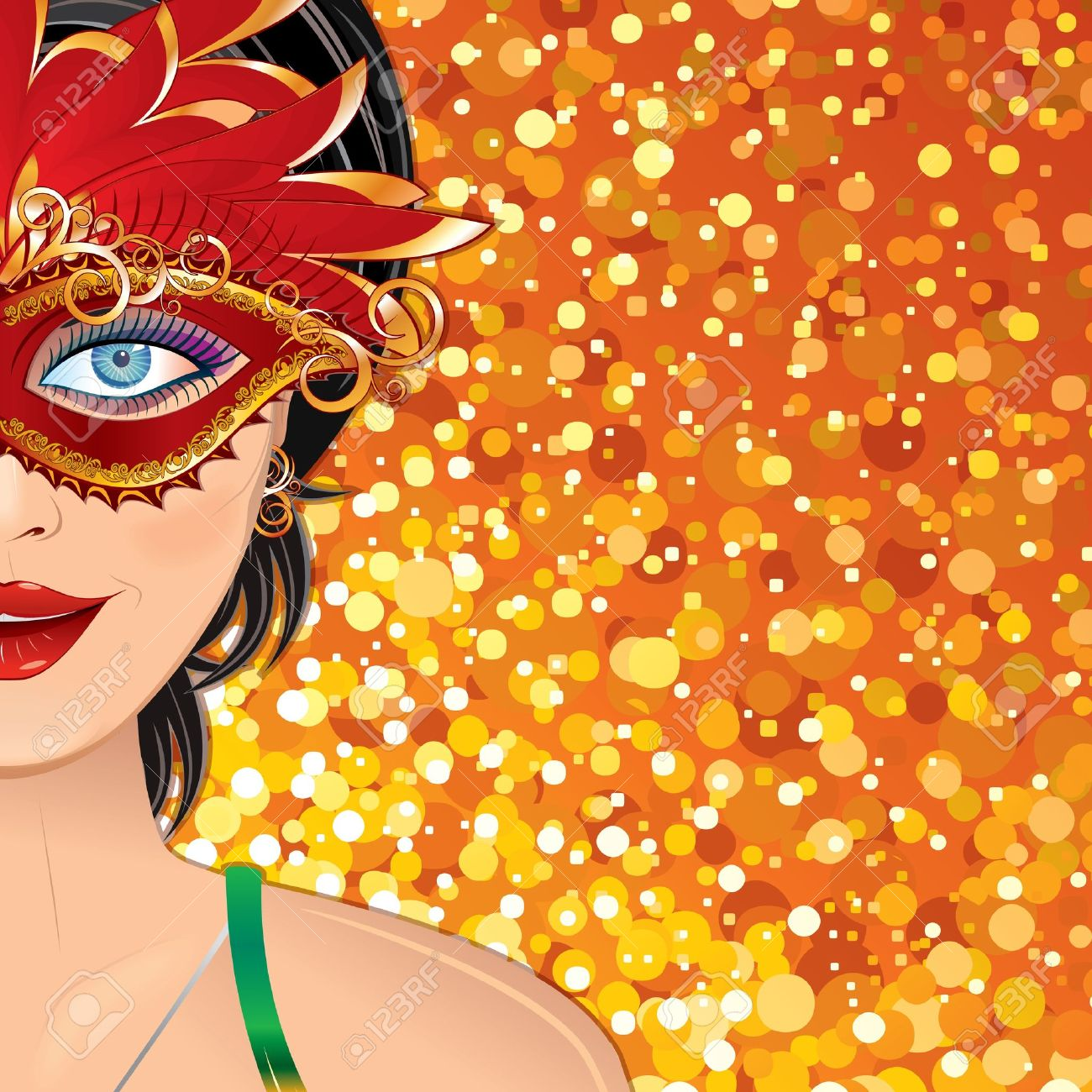 Festive Carnival Background with Beauty Girl with Mask. Colorful Vector Illustration with Copyspace Stock Vector - 12411499