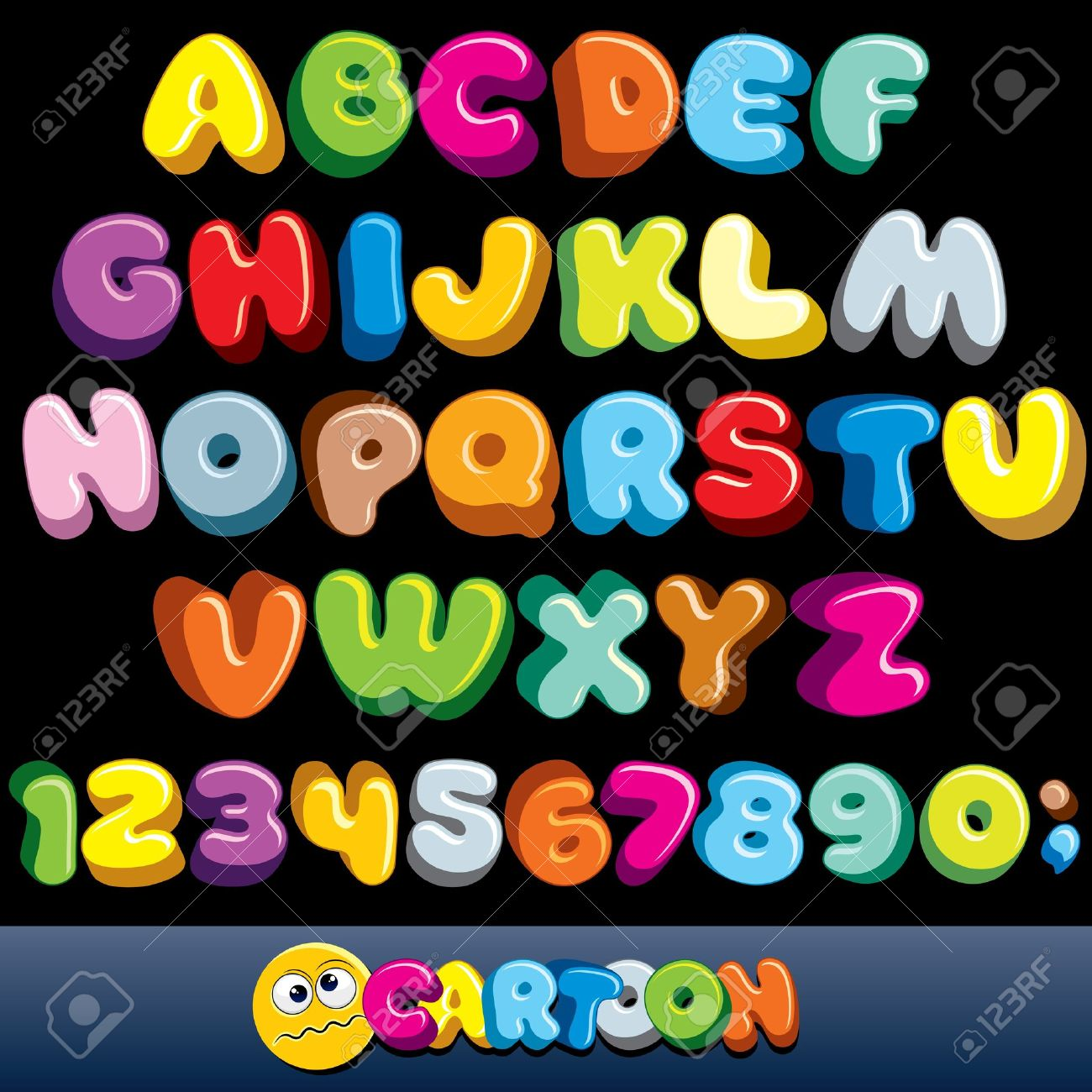 Funny Comics Font. Vector Cartoon Alphabet with All Letters and Numbers Stock Vector - 12411493