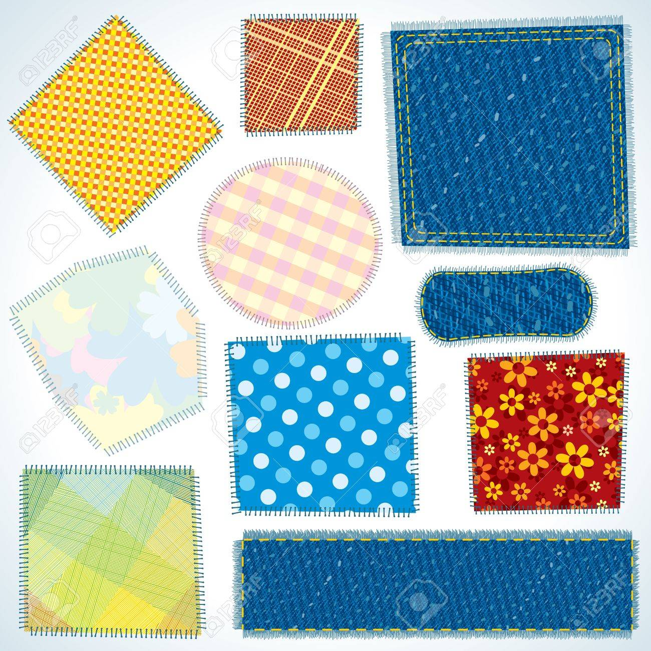 Set of Various Shaped, Isolated Cloth Patches. Vector Illustration Stock Vector - 12411509
