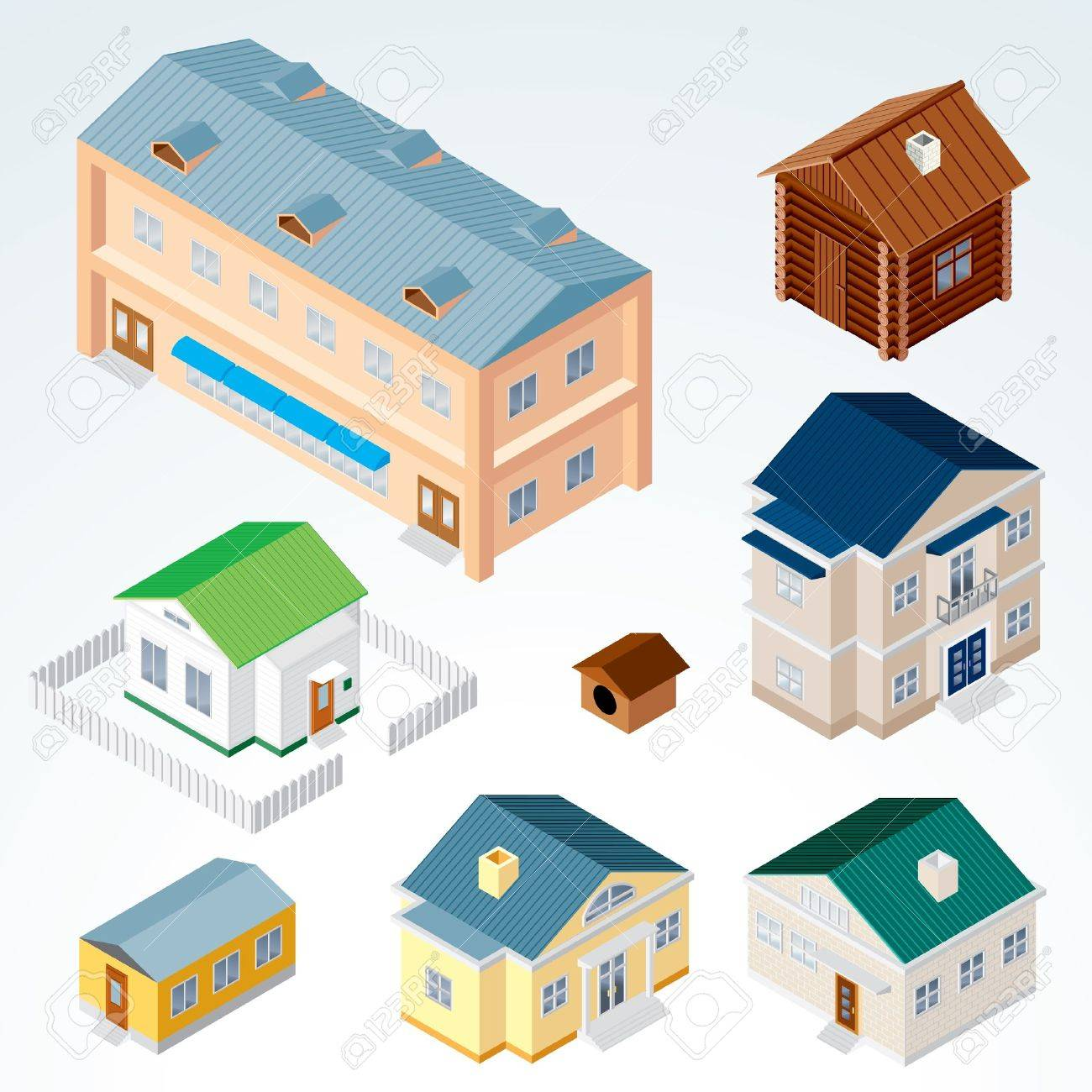 Set of Isolated Isometric Buildings, illustration of Various Urban and Rural Houses and Dwellings, Detailed Vector Clip-Art with Easy Editable Colors Stock Vector - 12411516