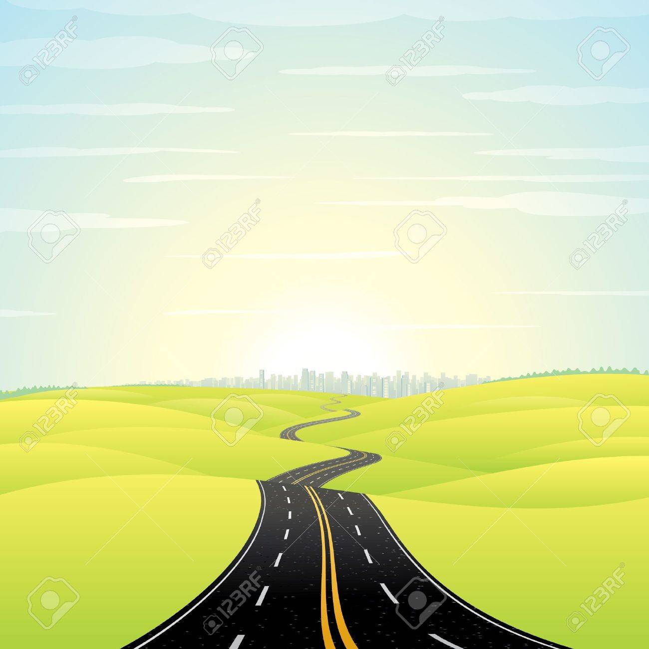 Abstract Illustration of Landscape with Highway  Picture of Road Going Toward the Skyscrapers in a Modern City at Sunrise  Colorful Vector Image Stock Vector - 13510604